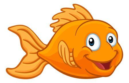 Personaje de dibujos animados de peces dorados o peces dorados