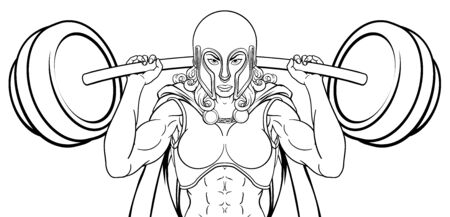 Warrior Woman Weightlifter Lifting Barbell Vector Illustration