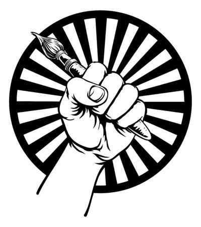 Hand Holding Artists Paintbrush
