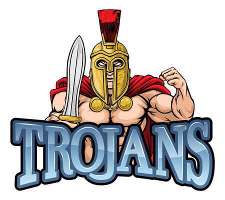 Trojan Spartan Sports Mascot Illustration
