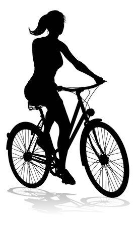 Vrouw Fiets Fietser Rijden Fiets Silhouet Vector Illustratie