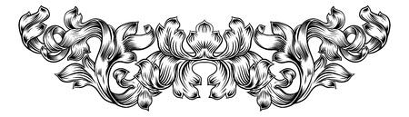 Scroll Pattern Laurel Filigree Leaf Baroque Motif Illustration