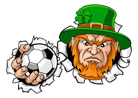 Leprechaun Soccer Mascot Ripping Background Illustration