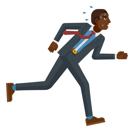 Een gestrest en moe uitziende zwarte zakenman die zo snel mogelijk rent om zijn werkdruk bij te houden of te concurreren. Bedrijfsconceptenillustratie in platte moderne cartoonstijl