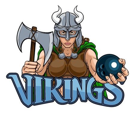 Viking Female Gladiator Bowling Warrior Woman Vector Illustration