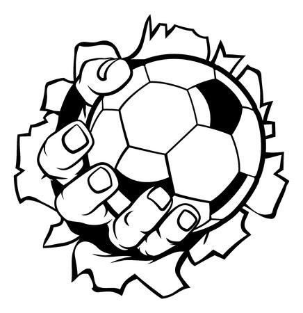 Soccer Football Ball Hand Tearing Background