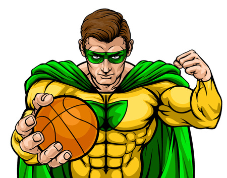 Superhero Holding Basketball Ball Sports Mascot Illustration