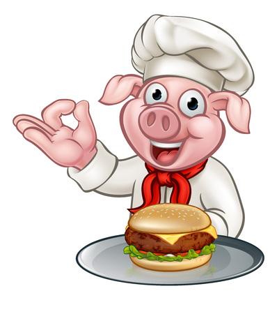 Cartoon Pig Chef Holding Burger