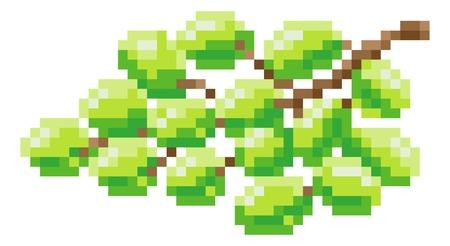Grapes Bunch Pixel Art 8 Bit Video Game Fruit Icon