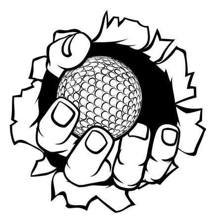 Fondo de desgarro de mano de pelota de golf Ilustración de vector