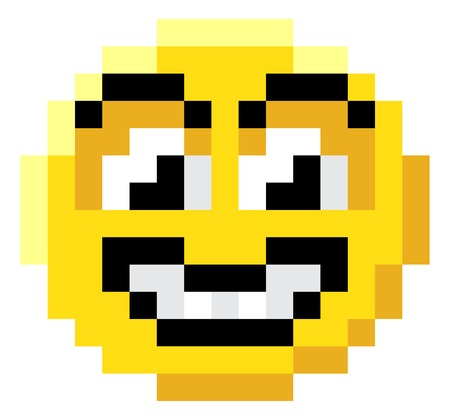 An emoji emoticon face icon in a pixel art 8 bit video game style Illustration