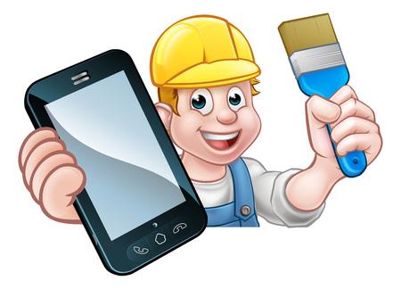 Painter Decorator Handyman Phone Concept Illustration