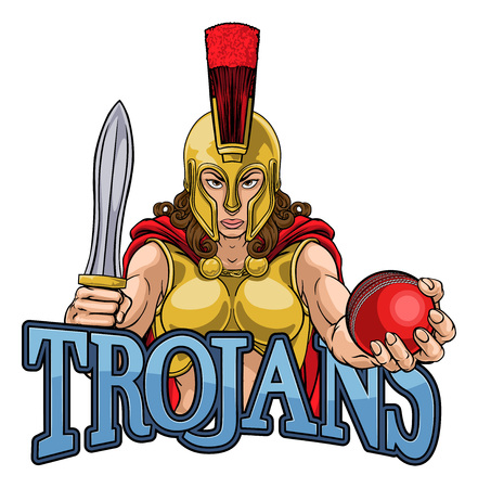 Spartan Trojan Gladiator Cricket Warrior Woman Illustration