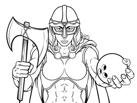 Viking Trojan Celtic Knight Bowling Warrior Woman
