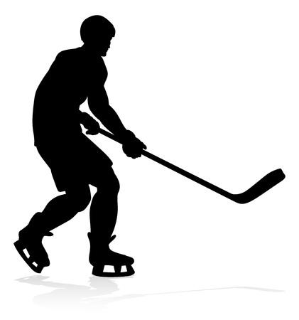 Hockey Sports Player Silhouettes Stock Illustratie