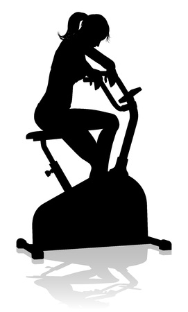 Gimnasio Mujer Silueta Ejercicio Fijo Bicicleta Giratoria Ilustración de vector