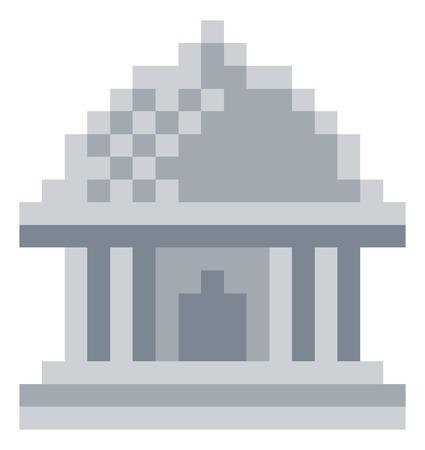 Museum Pixel 8 Bit Video Game Art Icon Illustration