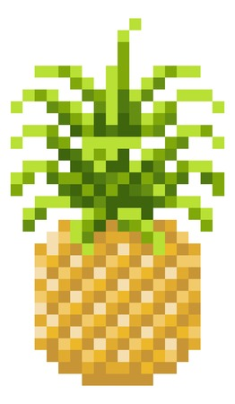 Pineapple Pixel Art 8 Bit Video Game Fruit Icon Ilustração