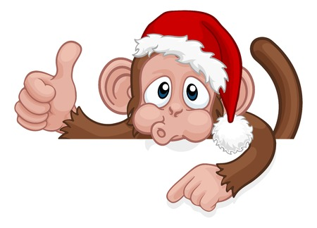 Christmas Monkey Cartoon Character in Santa Hat Banque d'images - 127198946