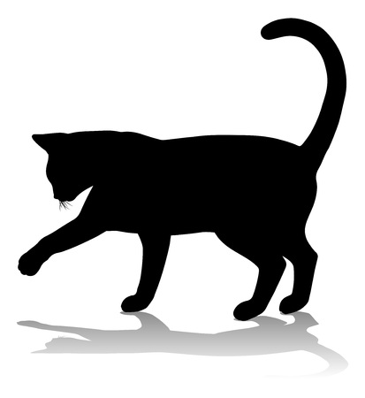 A silhouette cat pet animal detailed graphic Stock Illustratie
