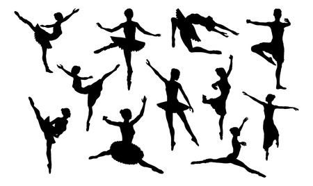 Ballet dancer in silhouette dancing in various poses and positions Foto de archivo - 127198974