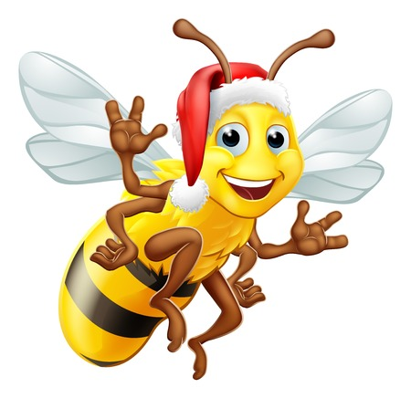 A Christmas bumble bee cartoon character in a Santa Claus hat flying and waving