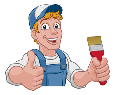 A painter decorator construction handyman cartoon man holding a paintbrush brush. Peeking over a sign and giving a thumbs up