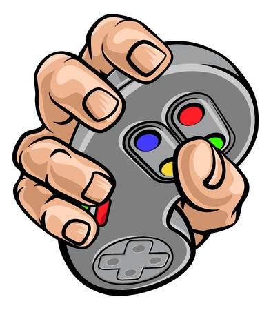Gamer Hand Holding Video Gaming Game Controller Illustration
