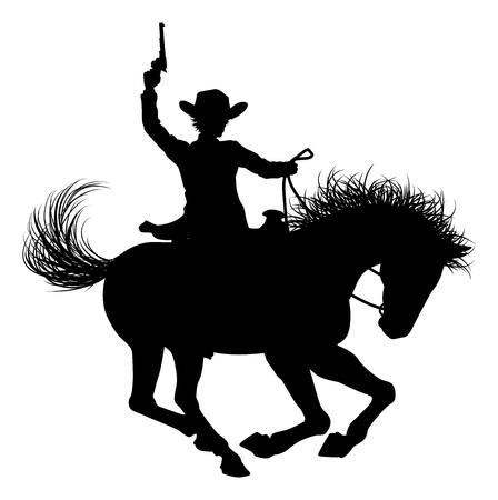 Cowboy rijpaard silhouet