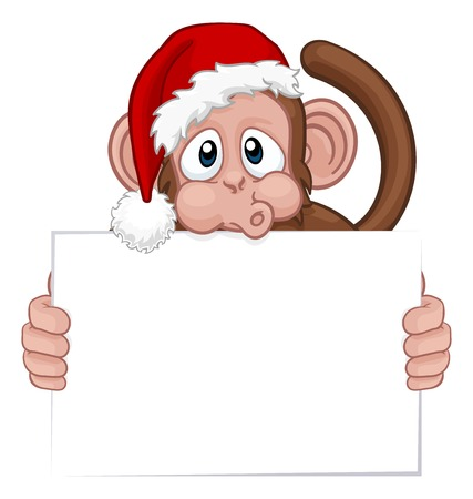 Christmas Monkey Cartoon Character in Santa Hat Banque d'images - 127775204