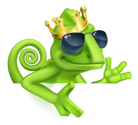 Chameleon Cool King Cartoon Lizard Character