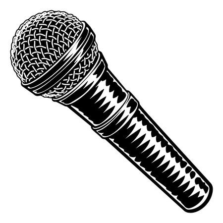 Microphone Vintage Woodcut Engraved Style