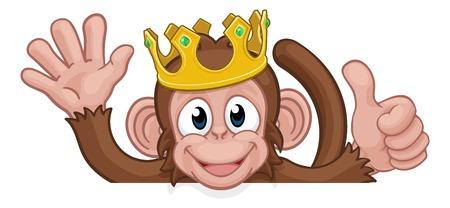 Monkey King Crown Thumbs Up Waving Sign Cartoon Illustration