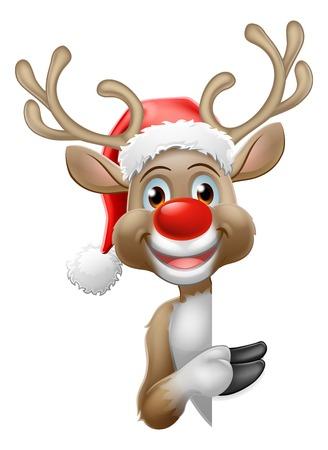 Reindeer in Santa Hat Christmas Cartoon