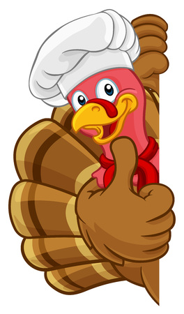 Turkey Chef Thanksgiving or Christmas Cartoon Ilustração