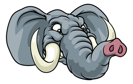Mascota de deportes de animales de dibujos animados de elefante enojado Ilustración de vector