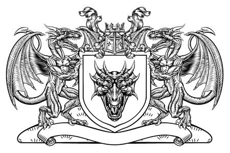 Emblème de bouclier de blason héraldique de dragon