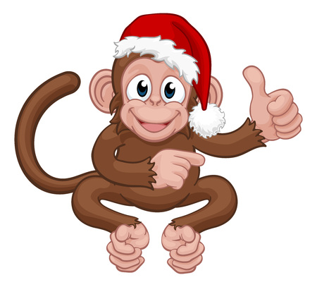 Christmas Monkey Cartoon Character in Santa Hat Banque d'images - 128127884