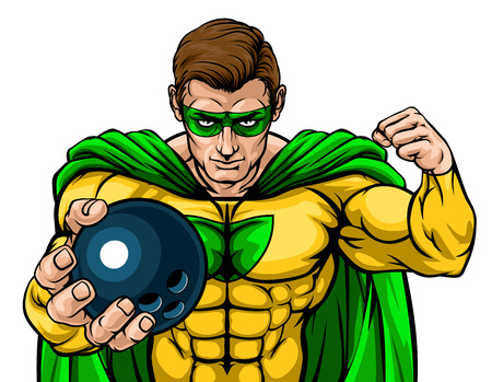 Superhero Holding Bowling Ball Sports Mascot