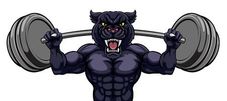 Panther Maskottchen Gewichtheben Bodybuilder