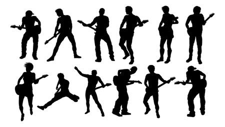 Silhouette Guitarist Musicians Set Vettoriali