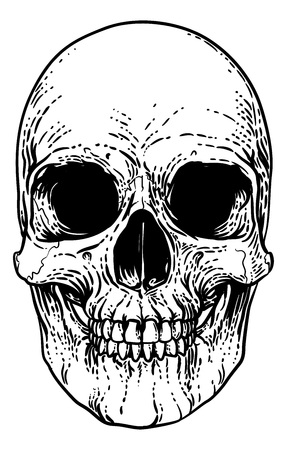 Skull Grim Reaper Vintage Woodcut Illustration Vektoros illusztráció