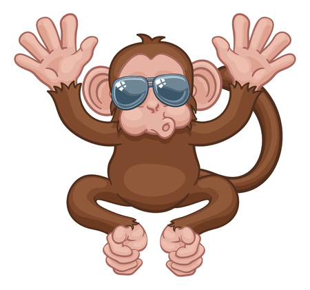 Monkey Sunglasses Cartoon Animal Mascot Waving