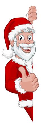 Young Santa Christmas Cartoon Sign Thumbs Up 일러스트