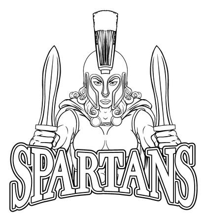 Spartan Trojan Female Warrior Gladiator Woman Illustration