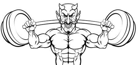 Diablo levantamiento de pesas culturista mascota deportiva Ilustración de vector