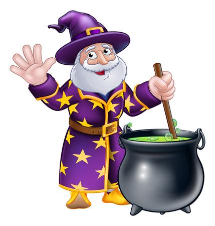 Wizard Cartoon Character and Cauldron