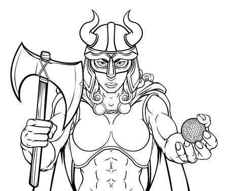 Viking Female Gladiator Golf Warrior Woman Illustration