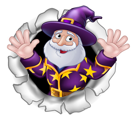 Wizard Mascot Breaking Through Background Cartoon