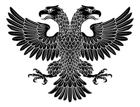 Águila imperial de dos cabezas con dos cabezas Ilustración de vector